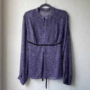💜 Apt. 9 Purple Patterned Sheer Blouse w/Velvet Tie-Back Size: XL